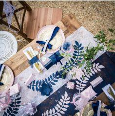 20 Ronds de serviette en papier - Papillon - Bleu Marine