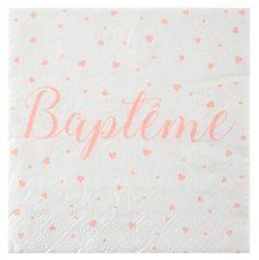 20 Serviettes Baptême - Corail   jourdefete.com