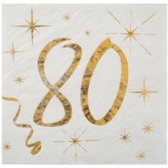 20 Serviettes en Papier Anniversaire - Blanc et Or - 80 ans | jourdefete.com