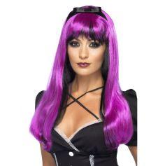 Perruque Halloween Sorcière Luxe Noir et violet