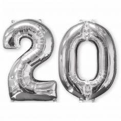 Ballons Hélium - 20 ans - Argenté