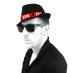 chapeau noir banderole EVG | jourdefete.com