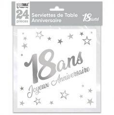 24 serviettes en papier argent métallisé âge au choix | jourdefete.com