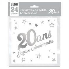 24 Serviettes en papier - Argent Métallisé - Age au Choix