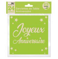 24 serviettes en papier éco responsable joyeux anniversaire couleur au choix | jourdefete.com