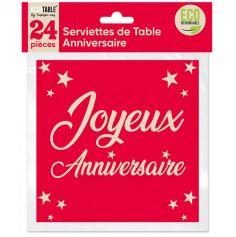 24 Serviettes en papier Joyeux Anniversaire - Couleur au Choix