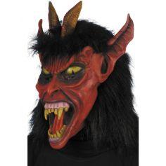 Masque Halloween diable chevelu en latex