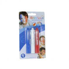 3 Sticks de Maquillage à l'eau - Bleu - Blanc - Rouge