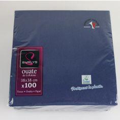 100 Serviettes Ouate de Cellulose - Bleu Vif