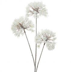 Branche de fleurs blanches givrée - 80 cm