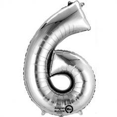 """Ballon à Air - Chiffre """"6"""" - Argent"""