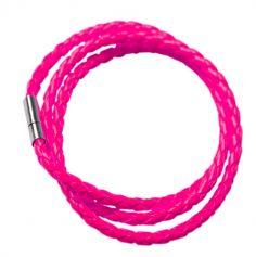 Bracelet tressé fluo - Rose