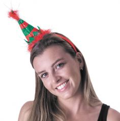 Serre-Tête de Noël - Chapeau de Lutin - Vert et Rouge