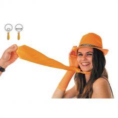 Cravate satinée - Orange fluo
