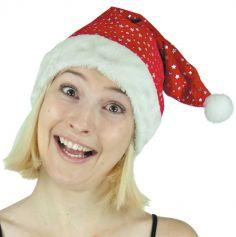 Bonnet de Père Noël Adulte - Etoiles Argentées