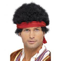 Perruque Hippie Cheveux noir court frisé