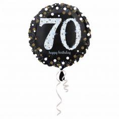 Ballon Holographique Joyeux Anniversaire Argent - 70 ans