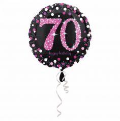 Ballon Holographique Joyeux Anniversaire Rose - 70 ans