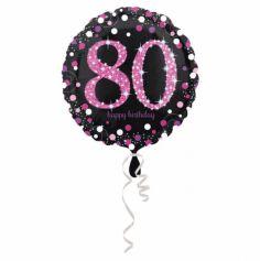 Ballon Holographique Joyeux Anniversaire Rose - 80 ans