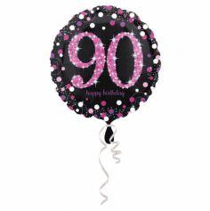Ballon Holographique Joyeux Anniversaire Rose - 90 ans