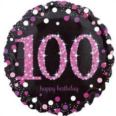 """Ballon Holographique """"Joyeux Anniversaire"""" Rose - 100 ans"""