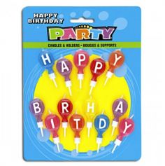 "Bougies d'Anniversaire rondes ""Happy Birthday"""
