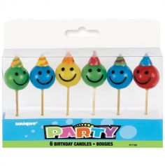 Blister de 6 bougies d'anniversaire - Smileys