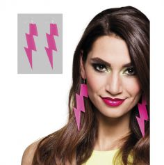 Boucles d'oreilles disco flash rose fluo