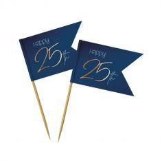 36 Pics en bois - Anniversaire Elégant - Bleu & Or - Age au Choix