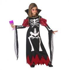 Déguisement Vampiresse Squelette Fille - Taille au Choix