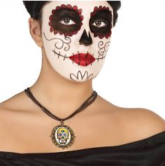 Collier Day Of The Dead - Pendentif Jaune et Blanc
