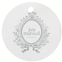 Marque Place Ronds Just Married en 5 cm - Blanc