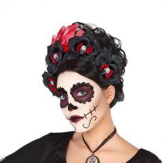 Serre-Tête Roses Noires et Crânes - Day Of The Dead
