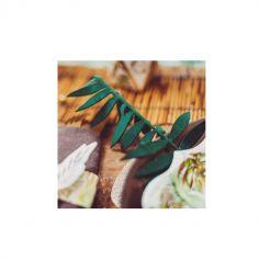 4 Feuilles de Palme en velours - Vert et Or Paillettes