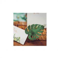 4 Feuilles Tropicales en Velours - Vert & Or - 5,8 x 7 cm