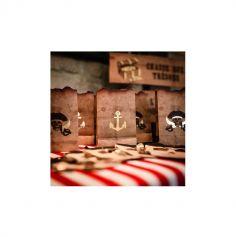 4 Sachets Pirate Kraft, Noir & Or - 15 cm