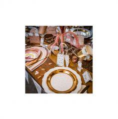 4 Sacs Cadeaux - Pois et Festons Blanc et Or avec Tassels