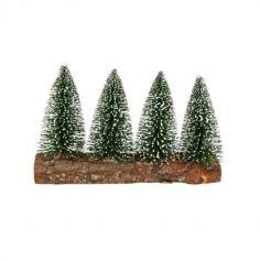 4 Sapins sur rondin de bois - Couleur au choix