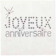 """20 Serviettes de table """"Joyeux Anniversaire"""" - Papier Blanc"""