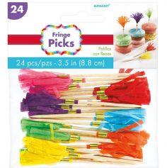 24 Piques à franges – multicolores