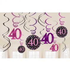 12 Suspensions 40 Ans - Rose / Noir
