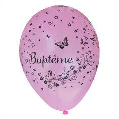 8 Ballons Baptême Fille Rose