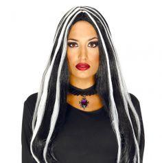 Perruque Femme - Sorcière - Noire avec Mèches Blanches