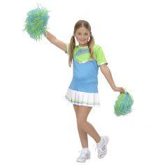 Costume de Pom-Pom Girl Enfant - Bleu/Vert 5-6 ans