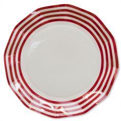 8 Grandes assiettes vagues  - Navy rouge