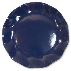 Grandes assiettes vagues x10 - Navy Bleu
