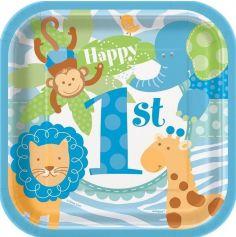 """8 Petites Assiettes Safari """"Premier anniversaire"""" - Bleu"""