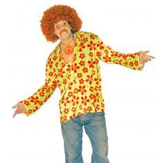 Chemise Velours Hippie Verte à Fleurs Rouges
