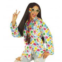 Chemise Velours Hippie Blanche à Fleurs Multicolores