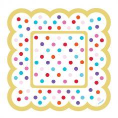 36 Mini Assiettes cartonnées à pois Multicolores
